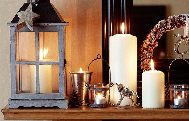 Pillar Candles Spaces Traditional with Christmas Interiors Occ Home Timeless