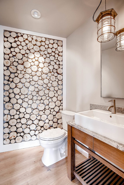 Pinnacle Lighting Bathroom Rustic with Accent Wall Bathroom Wall