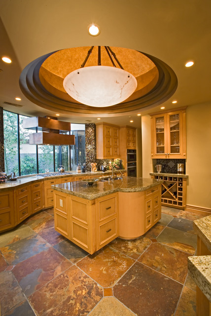 Pinnacle Lighting Kitchen Mediterranean with Ceiling Treatment Circular Cutout