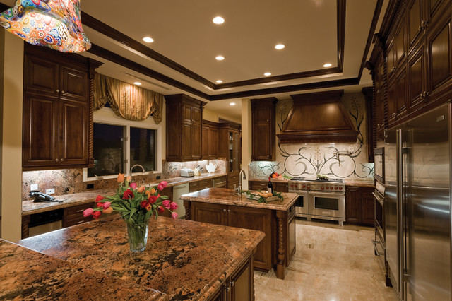 Pinnacle Lighting Kitchen Traditional with Brown Cabinets Carved Ceiling