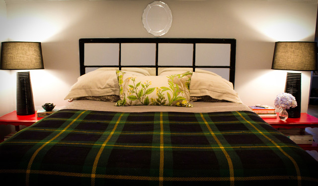 Plaid Blanket Bedroom Eclectic with Bedside Table Beveled Mirror