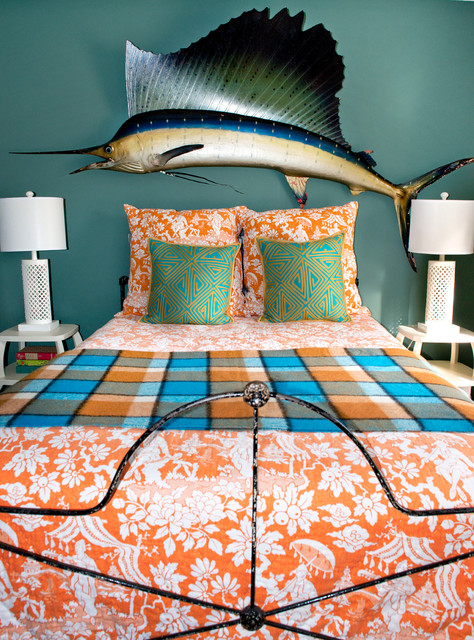 plaid blanket Bedroom Eclectic with colorful iron bed metal