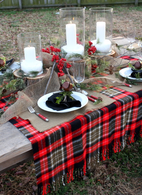 Plaid Blanket Dining Room Rustic with Candles Centerpiece Christmas Decorations
