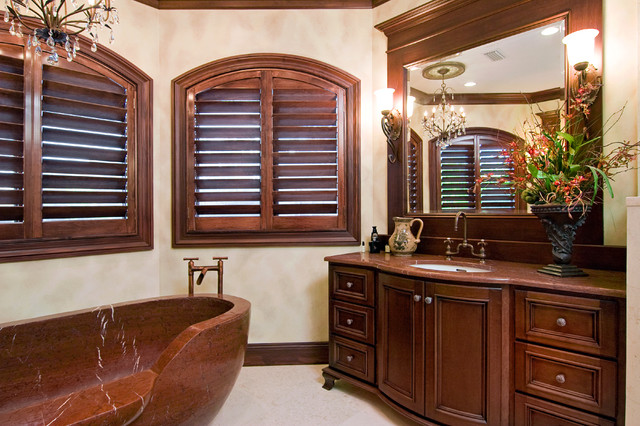 Plantation Blinds Bathroom Traditional with Basket Bay Window Brown