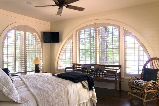 Plantation Blinds Bedroom Traditional with Ceiling Fan Dark Floor