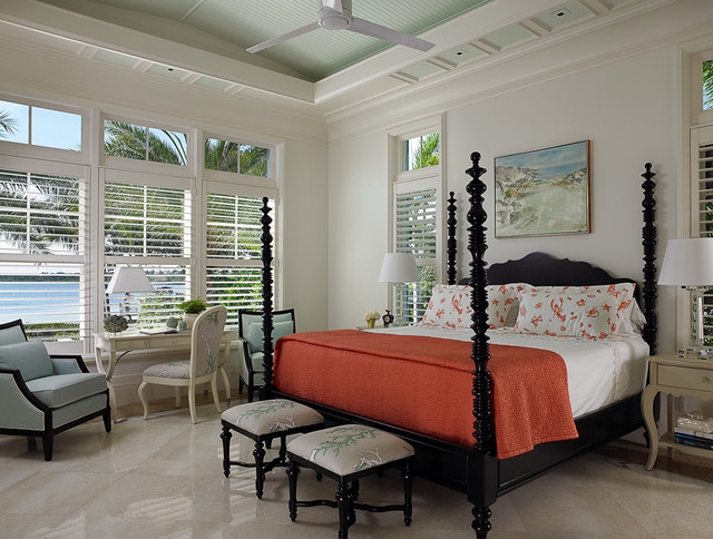 Plantation Blinds Bedroom Tropical with Beach Beachhouse Bedroom Bench