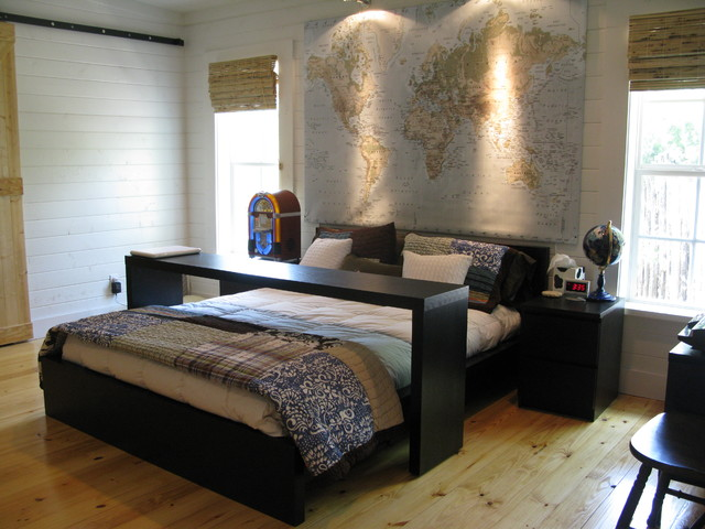 Platform Bed Ikea Bedroom Traditional with Bamboo Blinds Bedside Table