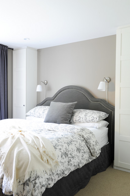 Plug in Wall Sconces Bedroom Transitional with Bedskirt Gray Headboard Nailhead