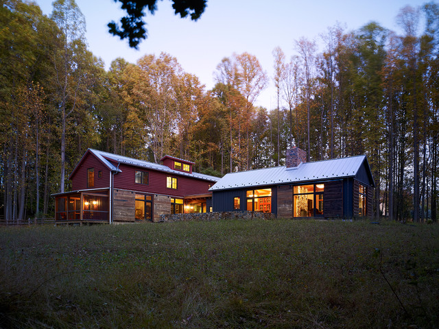 pole barn house plans Exterior Rustic with barn blue barn chimney