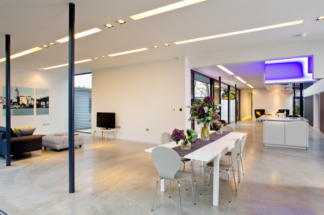 Polished Concrete Floors Dining Room Contemporary with Black Post Black Sofa