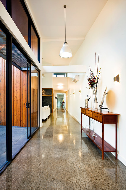 Polished Concrete Floors Hall Contemporary with Console Table Glossy Floor