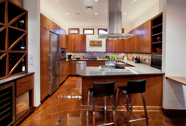 Polished Concrete Floors Kitchen Contemporary with 4 Can Lights With