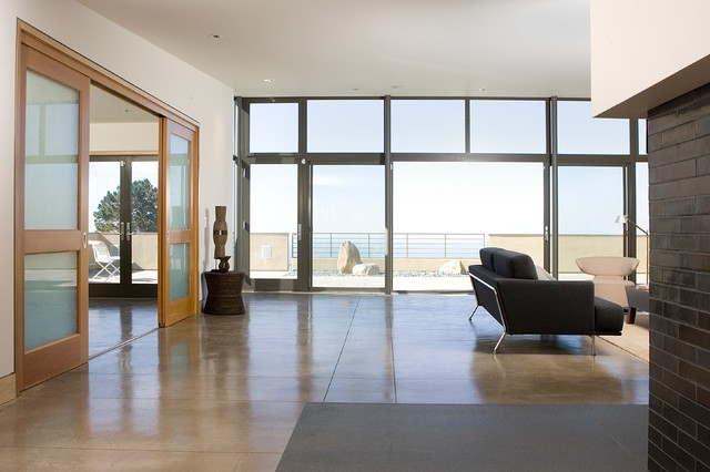 Polished Concrete Floors Living Room Contemporary with Balcony Colored Concrete Colored