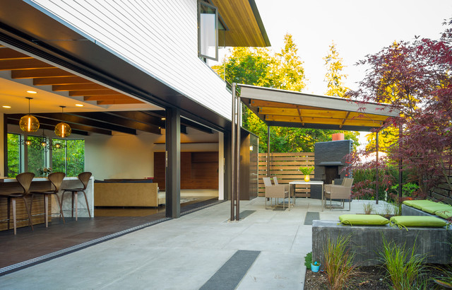 Polygal Patio Contemporary with Alternation Bar Barn Door