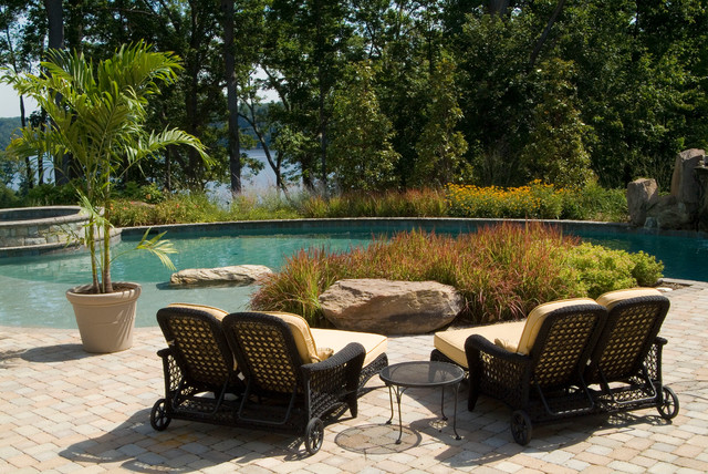 Pool Chaise Lounge Patio Traditional with Boulders Brick Patio Bushes