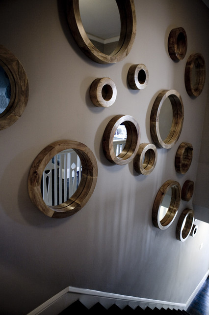 Porthole Mirror Hall Contemporary with Entry Gray Wall Hall