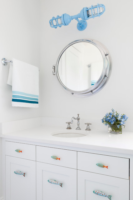 Porthole Mirror Powder Room Beach with Blue 2 Light Sconce