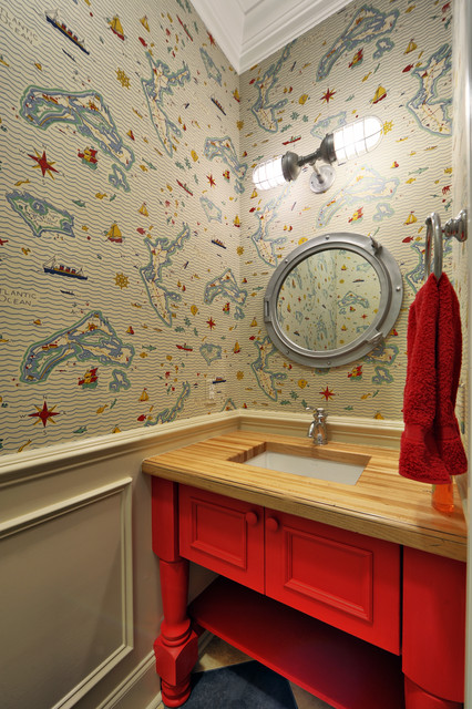 Porthole Mirror Powder Room Beach with Blue and Red Boat