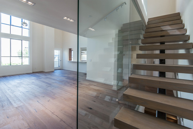 Possini Euro Design Family Room Contemporary with French Oak Flooring Grey