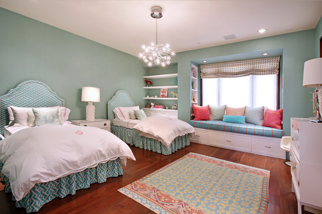 Possini Euro Design Kids Contemporary with Bedroom Blue Patterned Headboard