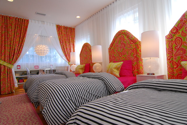 Possini Euro Design Kids Contemporary with Bedside Table Colorful Curtains