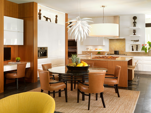 possini euro design Kitchen Contemporary with beige granite backsplash counter