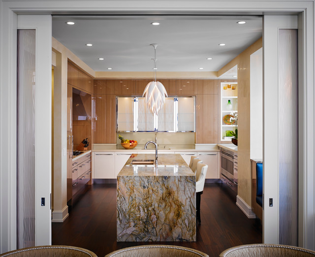 Possini Euro Design Kitchen Contemporary with Chicago Glass Doors Interior