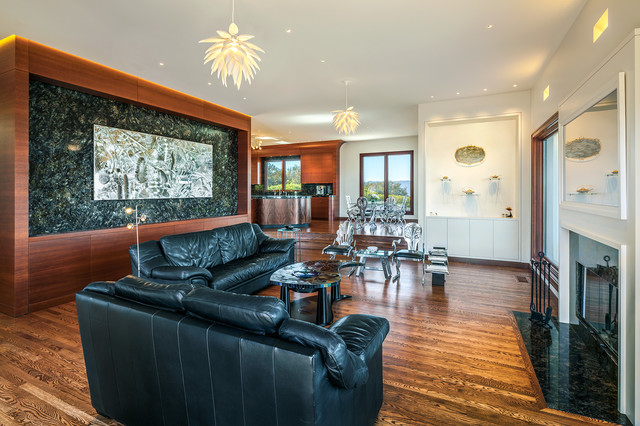 Possini Euro Design Living Room Contemporary with Coffee Table Leather Sofa