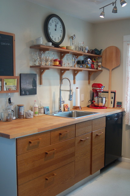 Pot Filler Faucet Kitchen Eclectic with Black Butcher Block Counter