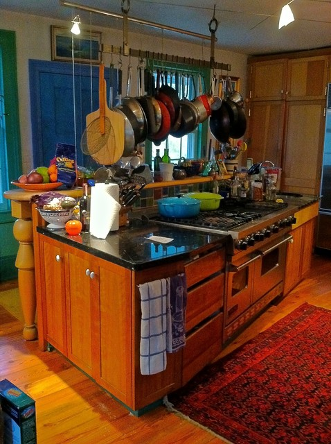 Pots and Pans Rack Kitchen Eclectic with Custom Cabinetry Custom Tile
