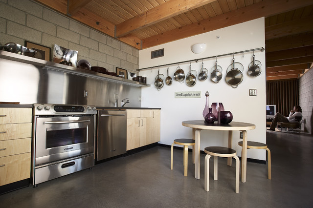 Pots and Pans Rack Kitchen Eclectic with Cinder Block Wall Eat