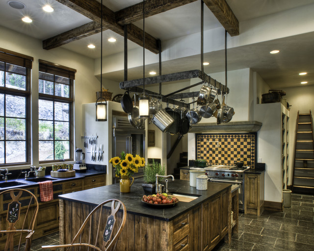 Pots and Pans Rack Kitchen Rustic with Black Stone Counters Double