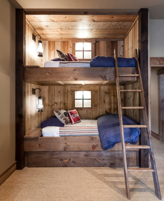 Pottery Barn Bunk Beds Bedroom Rustic with Beige Wall Blue Bedding