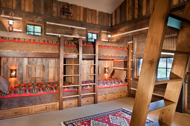 Pottery Barn Bunk Beds Kids Rustic with American Indian Prints Area