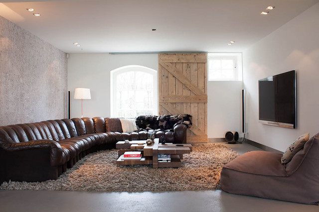 Pottery Barn Sectional Living Room Contemporary with Accent Wall Arched Window