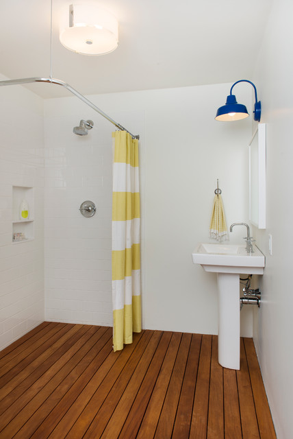 Pottery Barn Shower Curtains Bathroom Contemporary with Barn Lamp Deck Pedestal
