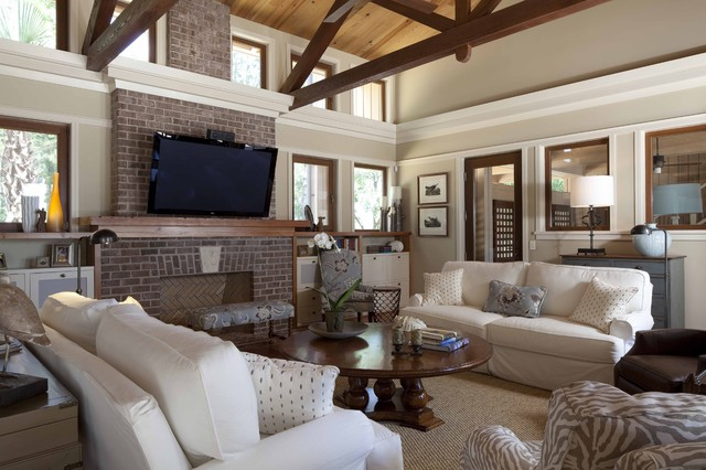 Pottery Barn Slipcovers Living Room Contemporary with Beams Brick Fireplace Cathedral