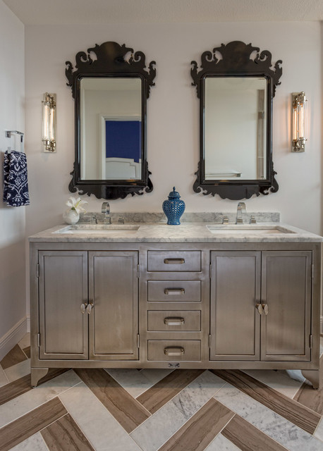 pottery barn vanity Bathroom Contemporary with accent tile Carrara marble