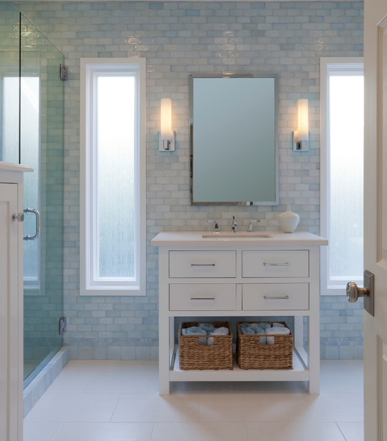 Pottery Barn Vanity Bathroom Traditional with Bathroom Bathroom Lighting Blue
