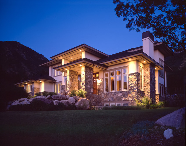 Prairie Style Homes Exterior Contemporary with Boulders Eaves Front Door