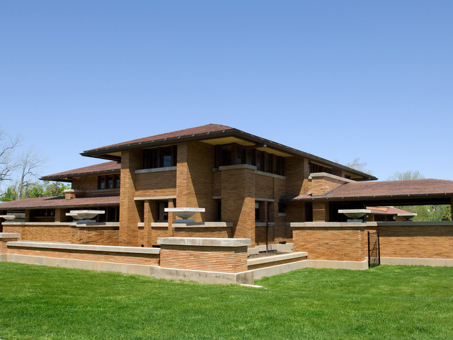 Prairie Style Homes Exterior Craftsman with Clay Roof Tile Concrete