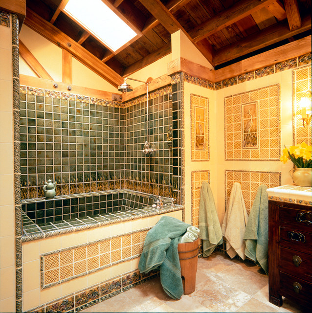 Pratt and Larson Bathroom Craftsman with American Made Tile Back