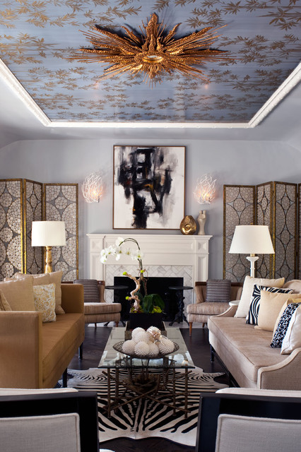 Pratt and Larson Living Room Transitional with Blue and Brown Capiz