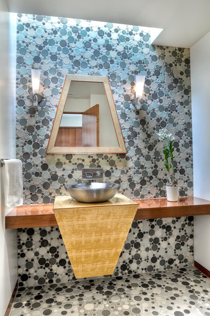 Pratt and Larson Powder Room Contemporary with Accent Wall Bubble Tile