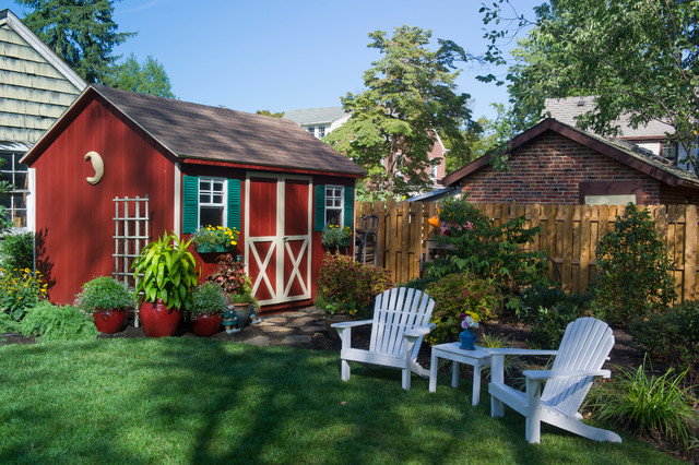 prefab sheds Landscape Traditional with adirondack chair backyard lawn