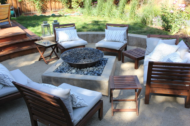 propane fire pit kit Patio Contemporary with concrete firepit fire pit