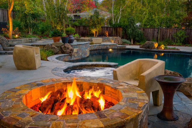 Propane Fire Pit Kit Pool Contemporary with Accent Lighting Boulders Brown