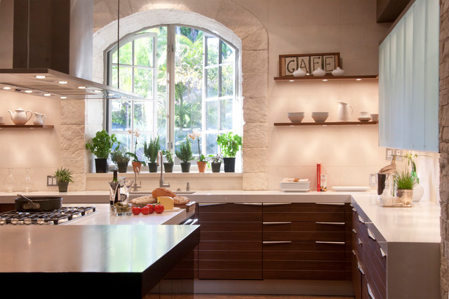 Puck Lights Kitchen Contemporary with Arched Window Archway Beam
