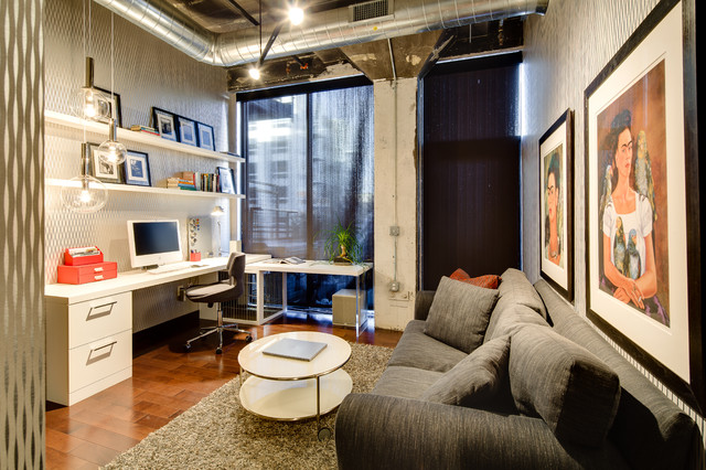 Pull Out Couches Home Office Industrial with Black Roller Shades Contemporary
