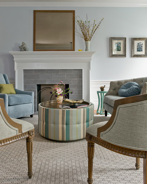 Quarry Tile Living Room Contemporary with Calvin Chalky Color Duralee